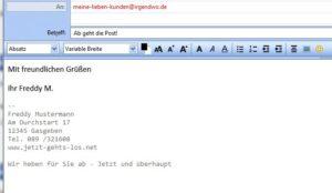 Eigenwerbung durch Email